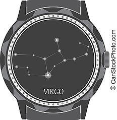 esfera, virgo., reloj, zodíaco, señal