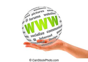 esfera, www, 3d, segurando mão