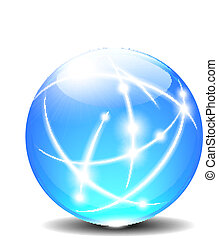 esferas, bola, linhas, comunicação