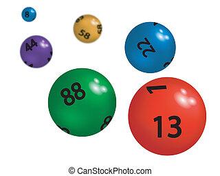 esferas, colorido, loteria, plástico