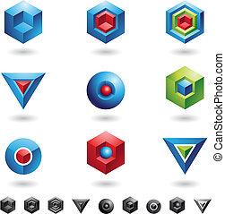 esferas, cubos, triângulos