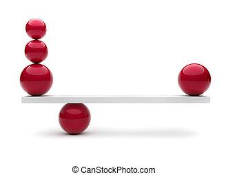 esferas, en equilibrio