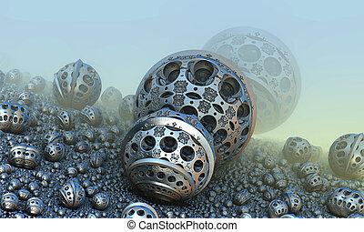 esferas, fantástico, plano de fondo, 3d