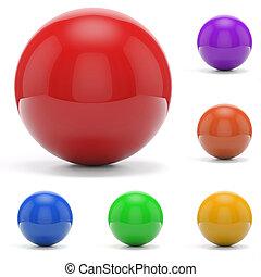 esferas, fundo branco, coloridos, 3d