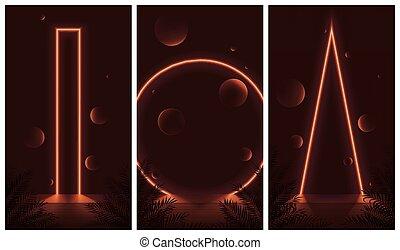 esferas, futurista, colores, formas, resumen, compositions, ...