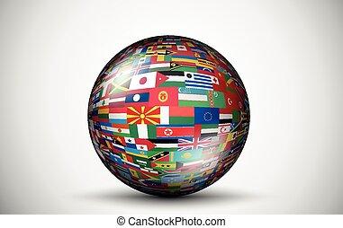 esferas, tudo, bandeiras, forma, países