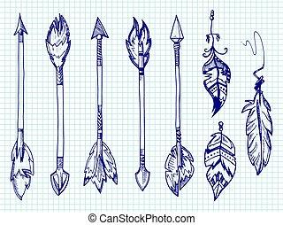 esferográfica, jogo, penas, setas, caneta, caderno, página