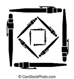 esferográfica, vetorial, caneta, ilustração