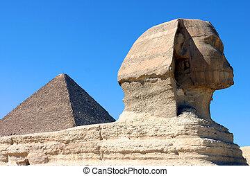 esfinge, e, piramide