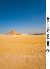 esfinge, el cairo, pirámides, frente, desierto, vasto