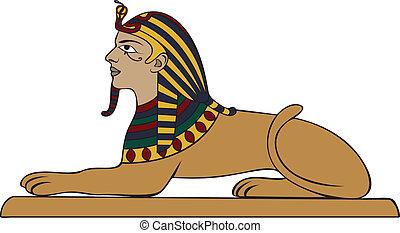 esfinge, variante, coloreado, egipcio