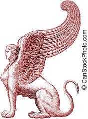 esfinge, vector, -, estatua, ilustración
