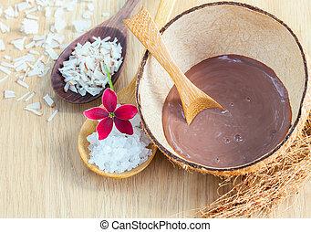 esfregar, ingredientes, -, natural, mar, spa, sal