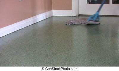 esfregar, verde, chão