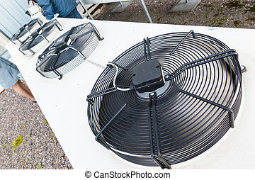 esfriando, industrial, ar condicionado, unidades, closeup