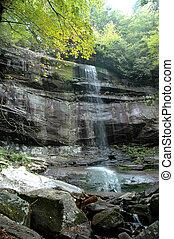 esfumaçado, montanha, cachoeira
