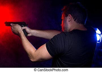 esfumaçado, shootout, polícia