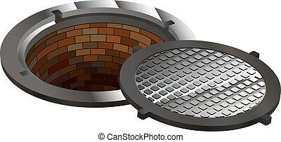 esgoto, túnel, manhole, buraco, cova