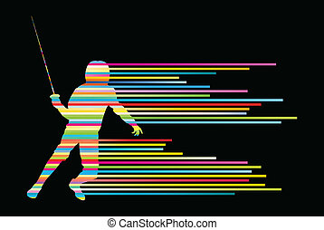 esgrima, joven, luchadores, vector, espada, activo, siluetas, deporte, hombre