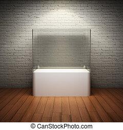esibire, vetro, vuoto, bacheca