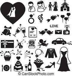 esküvő, állhatatos, eps, ábra, ikonok