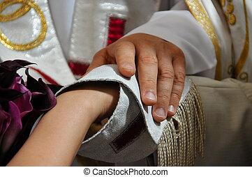 esküvő ünnepély, áldás, kézbesít, closeup