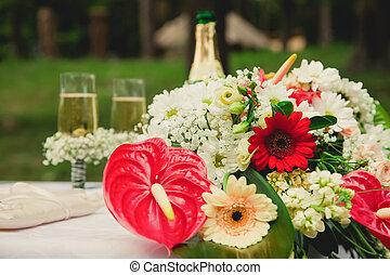 esküvő ünnepély, alatt, egy, gyönyörű, garden.