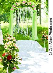 esküvő ünnepély, bolthajtás, dekoráció