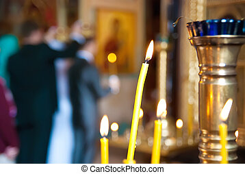 esküvő, alatt, egy, templom