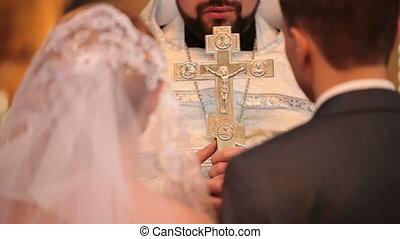 esküvő, alatt, templom