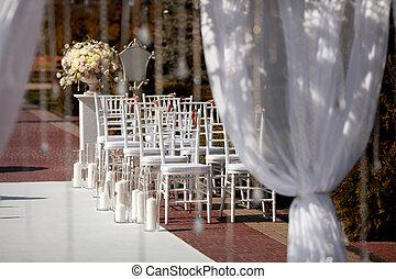 esküvő, beállítás, alatt, a, garden.