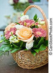 esküvő bouquet, closeup