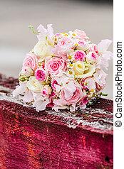 esküvő bouquet, menstruáció, agancsrózsák, gyönyörű, csokor
