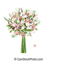 esküvő bouquet, virágos, helyett, -e, tervezés