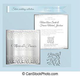 esküvő, díszítés, fényűzés, sablon, meghívás, fényes, ezüst