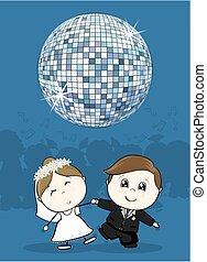 esküvő, először, táncol