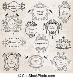 esküvő, elements-, szüret, -, meghívás, köszöntések, vektor, születésnap, scrapbook, keret, tervezés