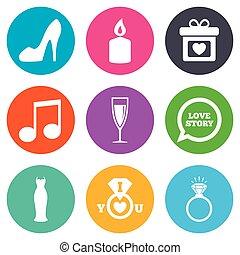 esküvő, eljegyzés, icons., karika, noha, diamond.