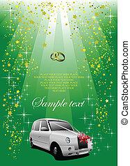 esküvő, fehér, autó, képben látható, zöld, háttér., vektor, ábra
