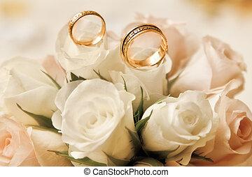 esküvő gyűrű, noha, csokor