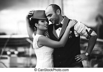 esküvő, gyengédség, mód