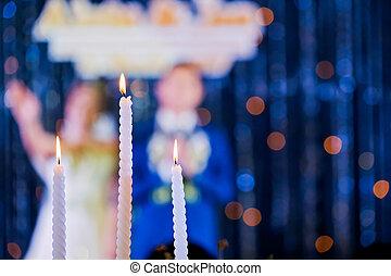 esküvő, gyertya, és, menyasszony, alatt, ünnepély