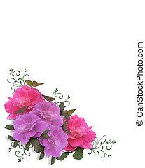 esküvő invitation, agancsrózsák, sarok