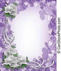 esküvő invitation, fehér, agancsrózsák