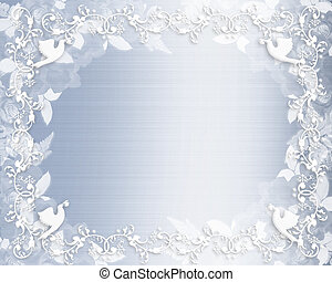 esküvő invitation, floral határ, kék