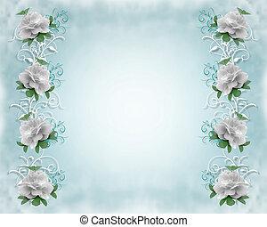 esküvő invitation, határ, agancsrózsák