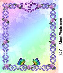 esküvő invitation, határ, pillangók