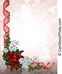 esküvő invitation, határ, piros rózsa