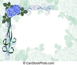 esküvő invitation, kék, agancsrózsák