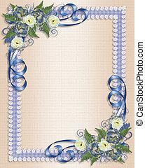 esküvő invitation, kék, virágos